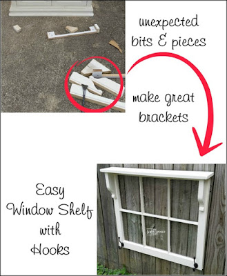 DIY window shelf with hooks - My Repurposed Life