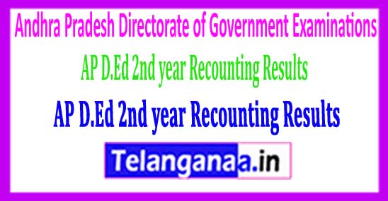Andhra Pradesh D.Ed 2nd year Recounting Results 2018