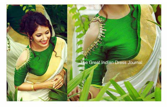 c67d3d165a42a1 The Great Indian Dress Journal  Cold Shoulder Blouse Fashion in 2017