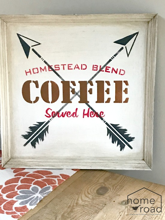 rustic stained arrow coffee sign