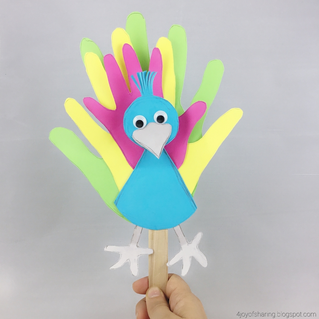 Family Handprints Peacock Puppet The Joy Of Sharing