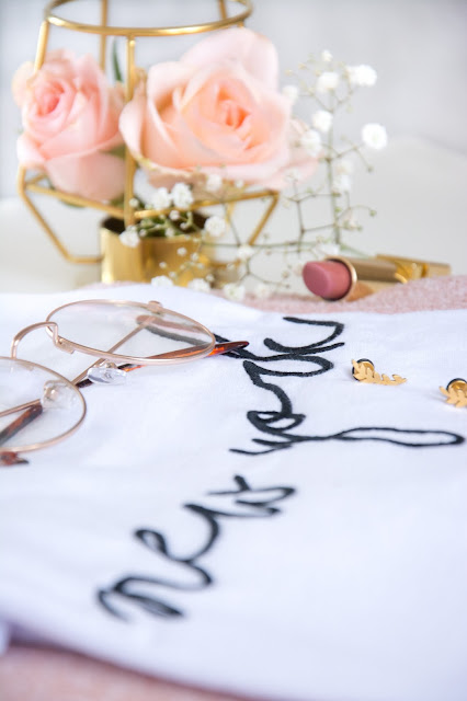 Roses; Primark New York Top; Primark Decorative Gold Round Glasses; Tanya Burr Lipstick Pink Cocoa; Happiness Boutique Earrings; Ikea Gold Geometric Tealight Holder
