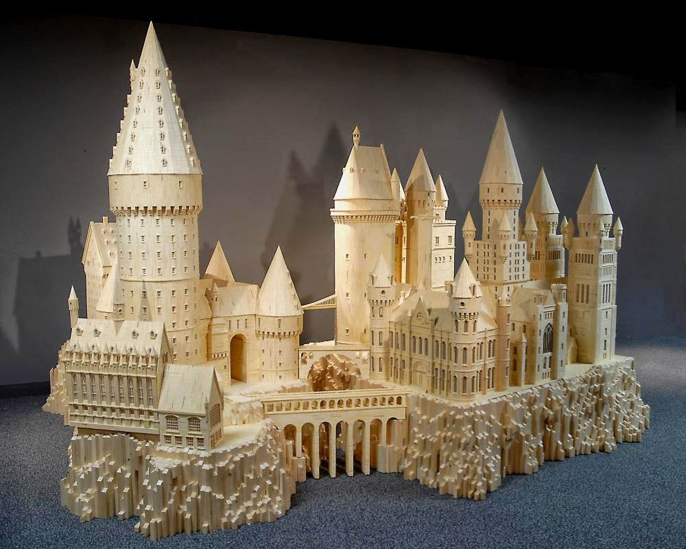 03-Hogwarts-Patrick-Acton-The-Matchmaker-Matchsticks Sculptures-www-designstack-co