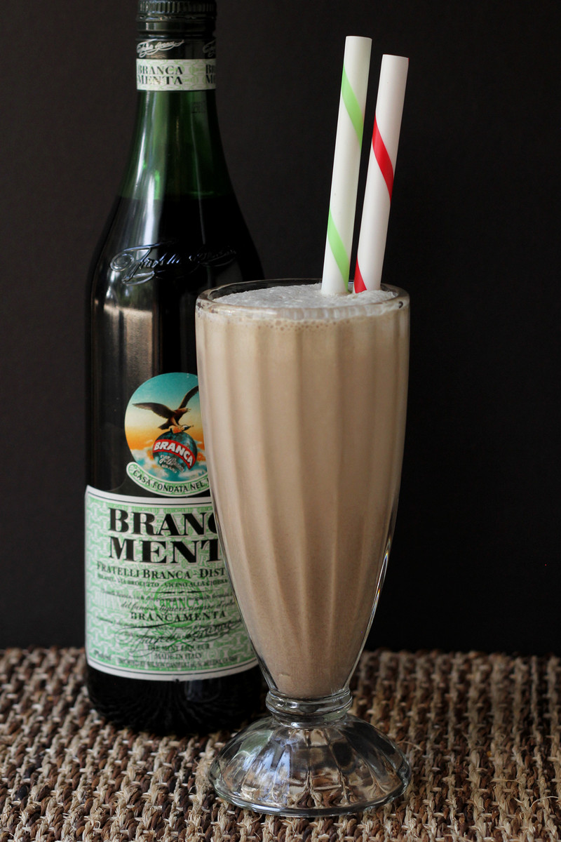 Boozy Chocolate Mint Milkshake with Branca Menta