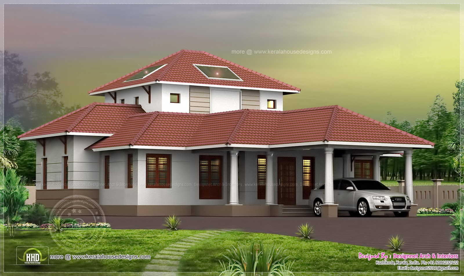 3 bhk kerala courtyard single floor house kerala home for Two floor house plans in kerala