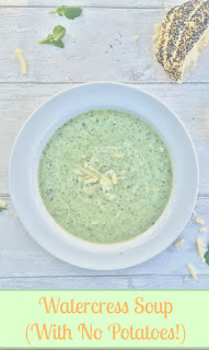 No potato watercress soup. This soup doesn't have a starchy after taste as it is made with watercress, stock and milk. Lovely accompanied with creme fraiche, cheese and a crusty bread roll.