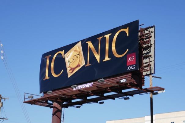 Iconic condoms AHF billboard