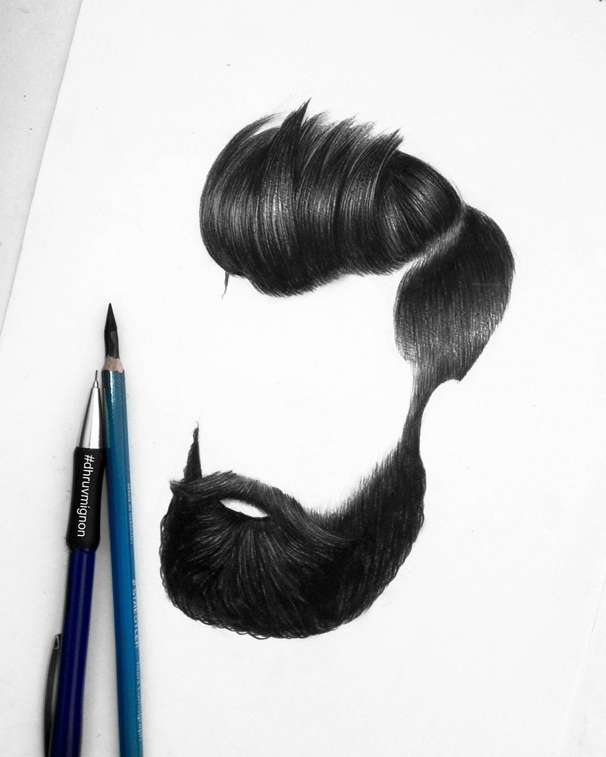 08-dhruvmignon-Minimalist-Realistic-Hair-Study-Drawings-www-designstack-co