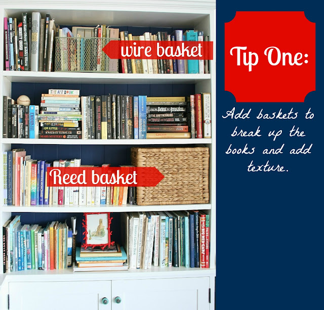 how to style bookshelves with books