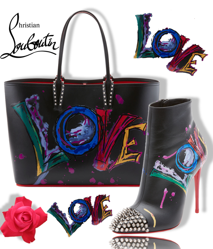 Christian Louboutin Love Is A Boot Red Sole Bootie and Cabata Calf Paris Love Tote Bag