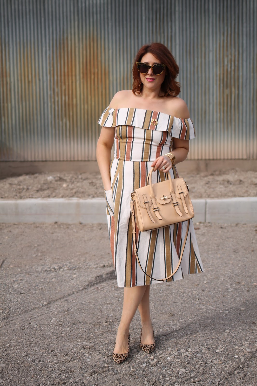 Karen walker starburst sunglasses, red hair, asos striped off the shoulder dress, Rebecca Minkoff Jules satchel, cheetah heels
