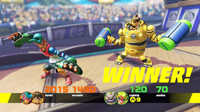 ARMS Global Testpunch Skillshot winner screen Spring Man Mechanica