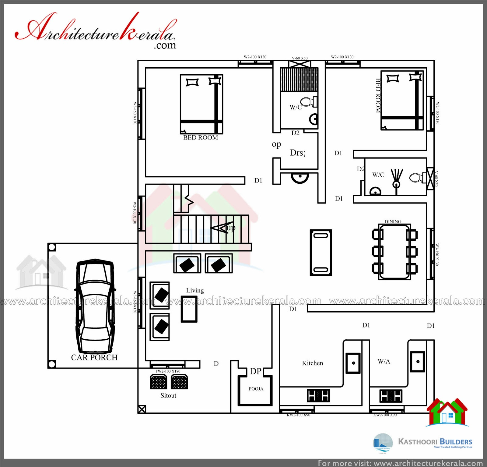 Square Feet House Plan And Elevation