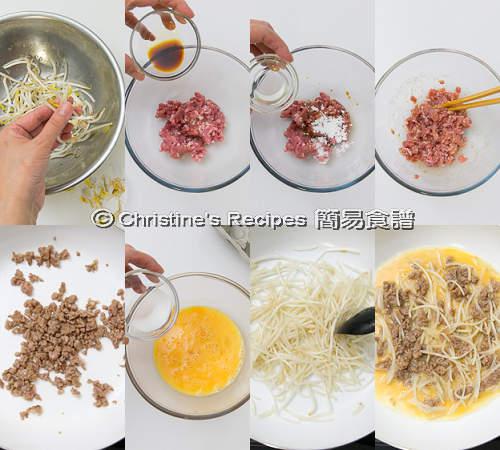 銀芽肉碎煎蛋製作圖 Pork & Bean Sprout Omelette Procedures