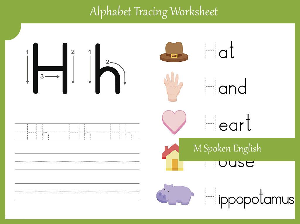 m spoken english alphabet worksheet h. Black Bedroom Furniture Sets. Home Design Ideas