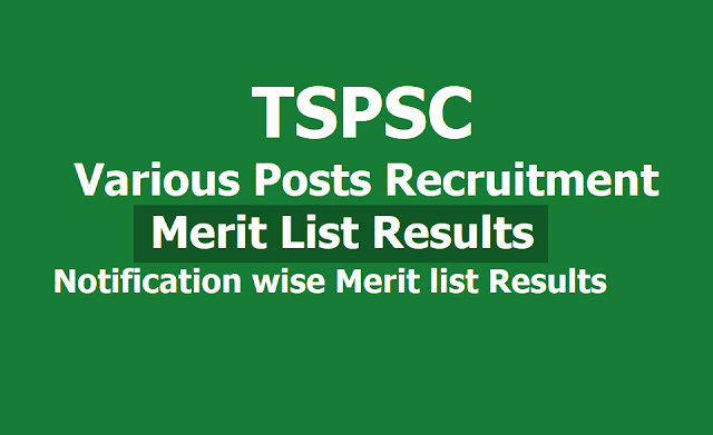 TSPSC Various Posts Merit List Results are released, Notification wise Merit list Results 2019