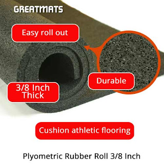 Greatmats plyometric rubber flooring roll 3/8 inch infographic
