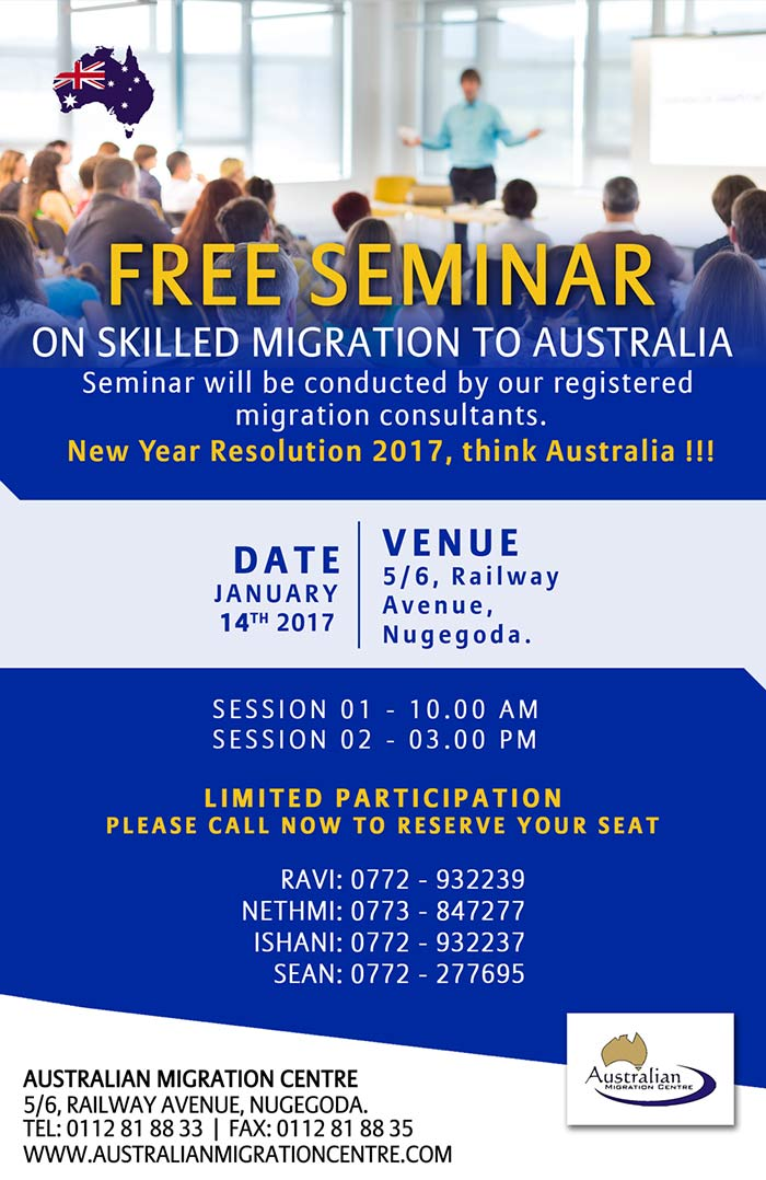 Free Seminar on skilled migration to Australia.