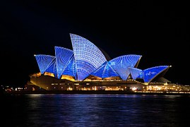 Sydney opera house lit up