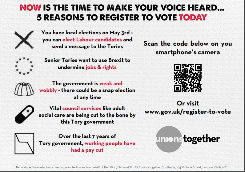Johns labour blog tired of the tories labour put working people this is a great flyer sent out today by unions together which i will be taking with me and use to encourage trade union members constituents to register spiritdancerdesigns Images