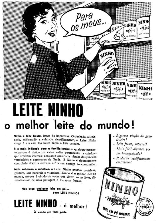 Propaganda antiga do Leite Ninho nos anos 50: reforço na alimentação de crianças e adultos