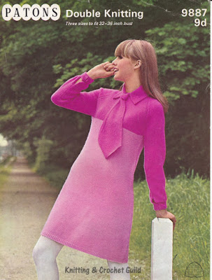 1960s vintage knitting pattern; pink mini dress with collar & tie.