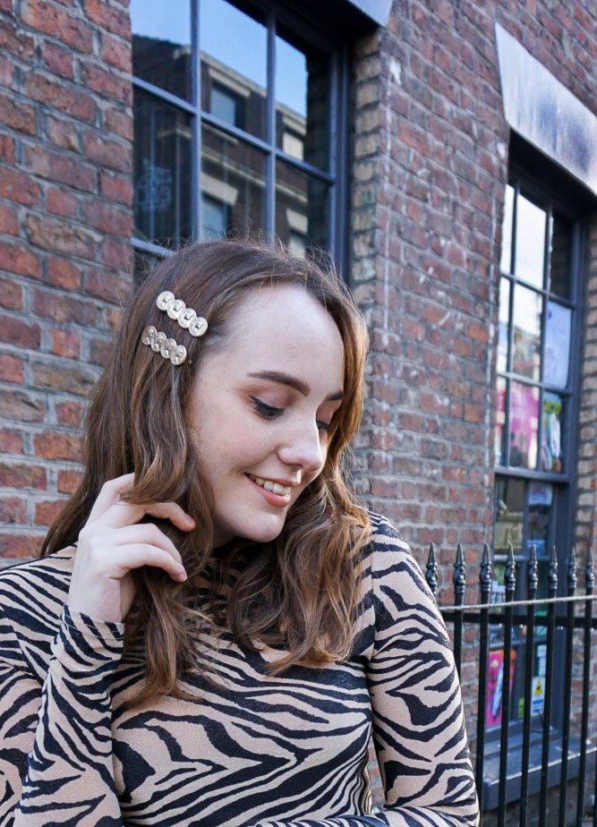 gold coin hair slides on UK fashion blogger