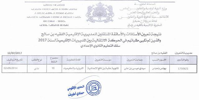 نتائج تعيين الأستاذات والأساتذة المنتقلين للمديرية الإقليمية الفقيه بن صالح والذين لم تلب طلباتهم في الحركة الانتقالية بين المديريات الإقليمية لسنة 2017