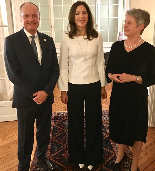 Crown Princess Mary wore Tibi Bell Sleeve Corset Stretch Crepe Top, Piaget Possession long necklace