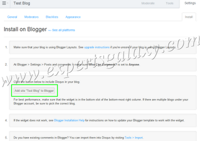 Disqus Blogger Installation Settings