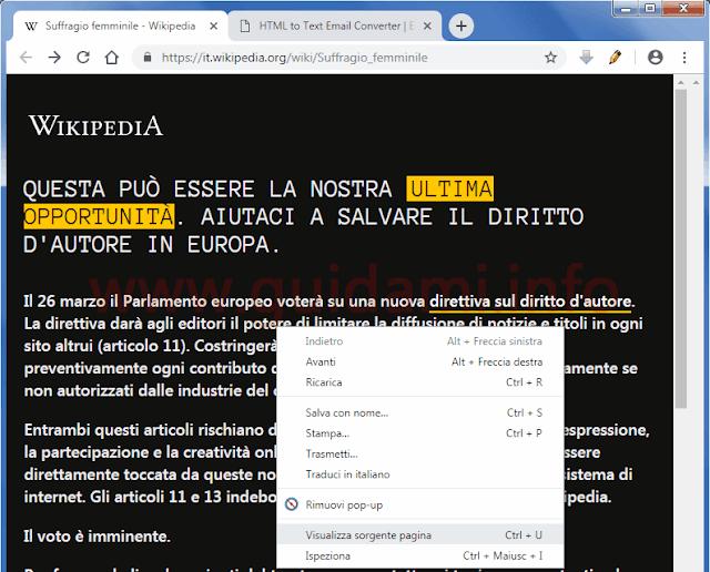 Pagina Wikipedia oscurata e menu contestuale Chrome con opzione Visualizza sorgente pagina