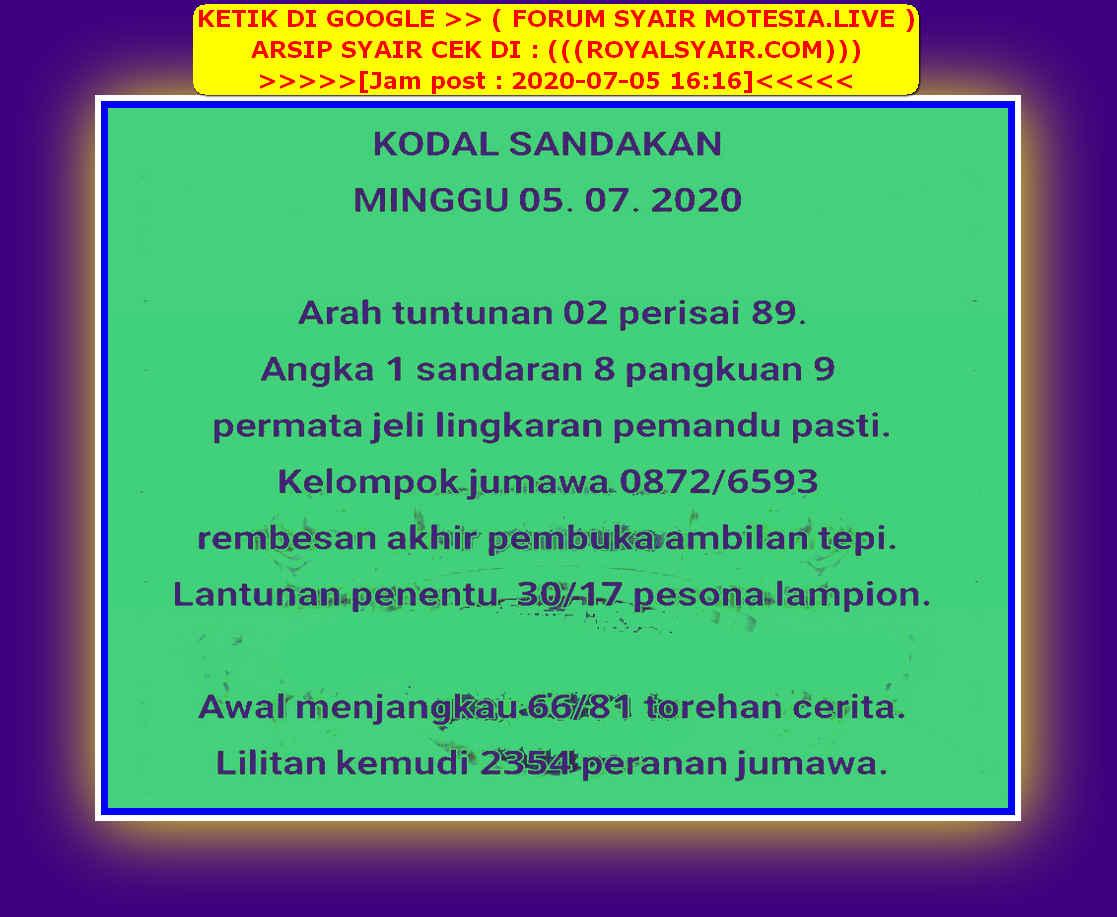 Kode syair Singapore Minggu 5 Juli 2020 28