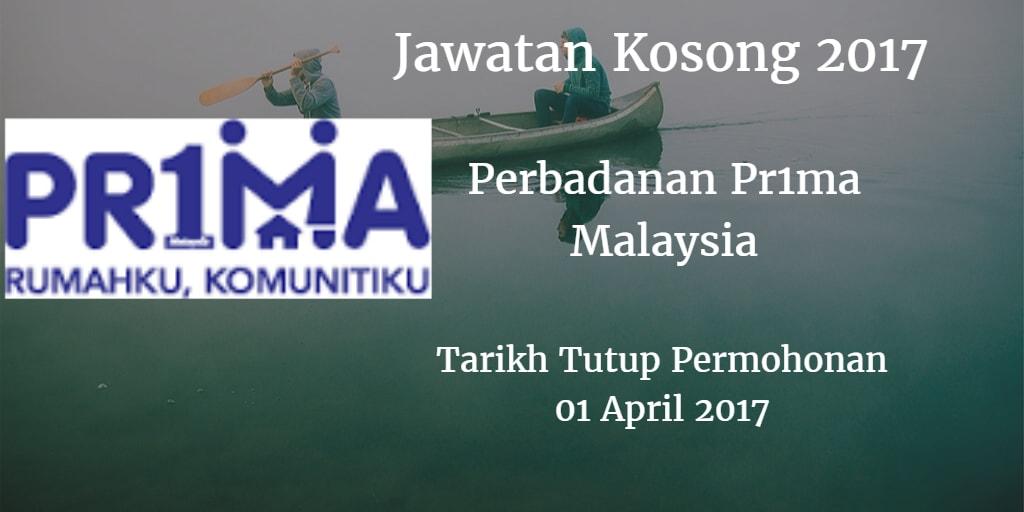 Jawatan Kosong Perbadanan Pr1ma Malaysia 01 April 2017
