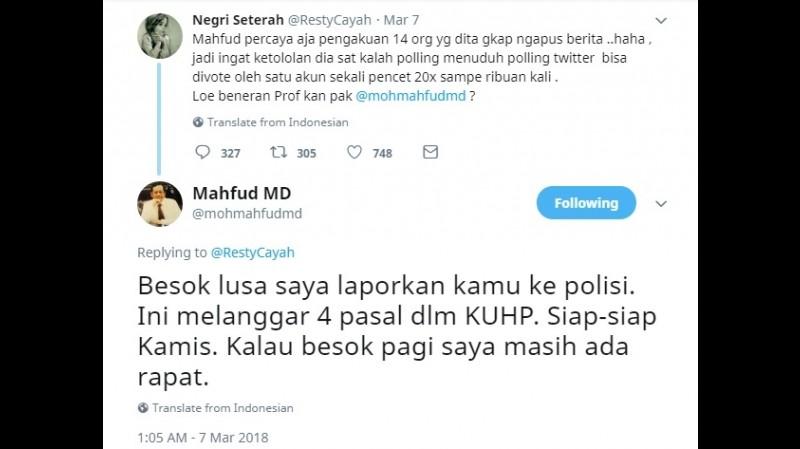 Mahfud MD ancam polisikan @RestyCayah