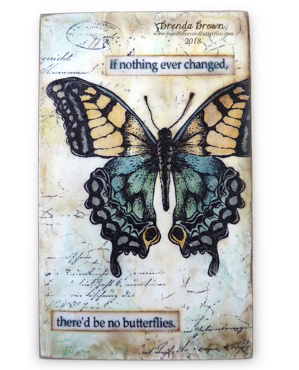 Bumblebees And Butterflies Butterfly Tile One Layer Faux Encaustic - Faux encaustic tile