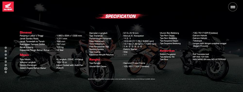 Data Spesifikasi Teknis Honda CBR 150R terbaru 2016