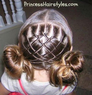 woven lattice pigtails with messy buns