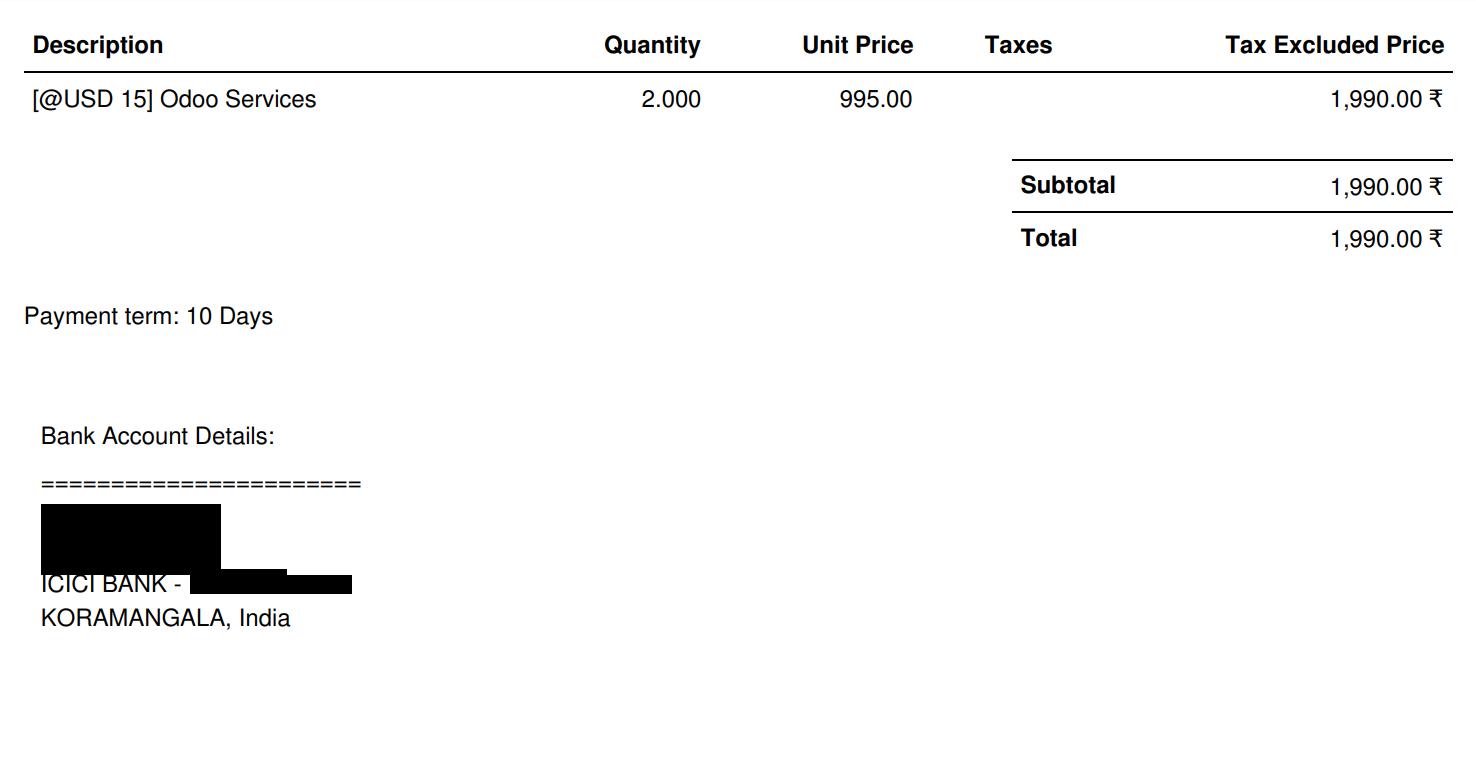 Odoobiz: Odoo10: Invoice Report with Bank Details