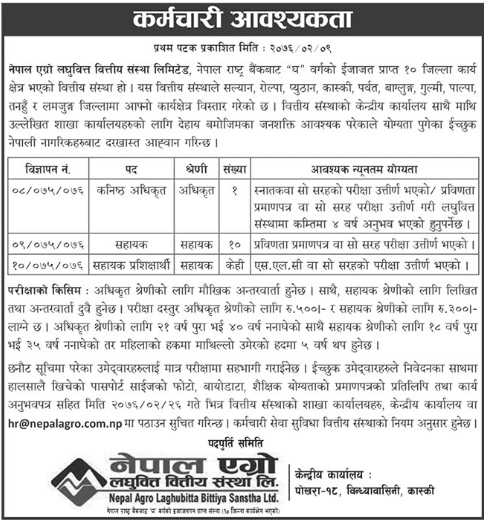 Vacancy Announcement from Nepal Agro Laghubitta Bittiya Sanstha Limited.
