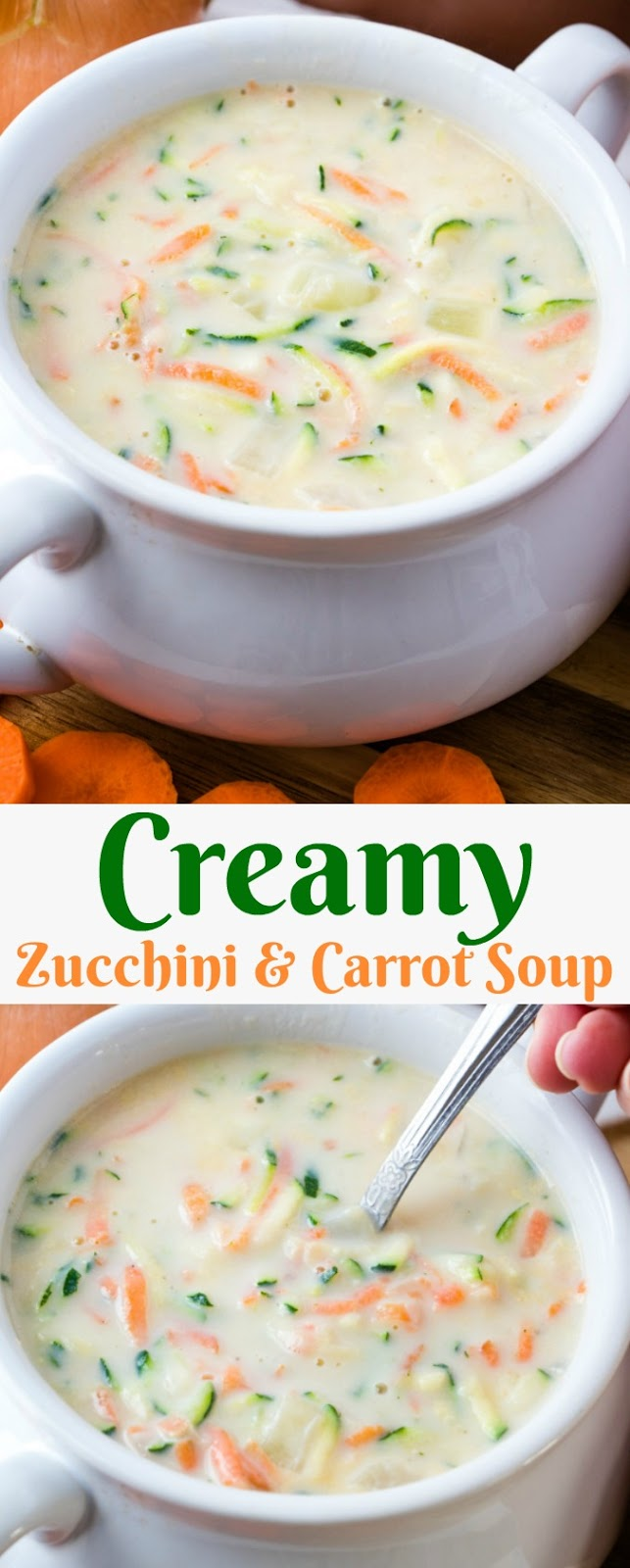 Creamy Zucchini and Carrot Soup Recipe from Hot Eats and Cool Reads! This easy and delicious soup is so perfect for lunch, dinner or freeze for later! Add leftover rotisserie chicken, bacon, cheese or herbs to make it your own! Great way to use zucchini or yellow summer squash from the garden!