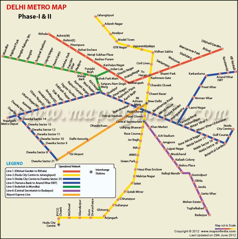 Delhi Metro Map Yellow Line Stations