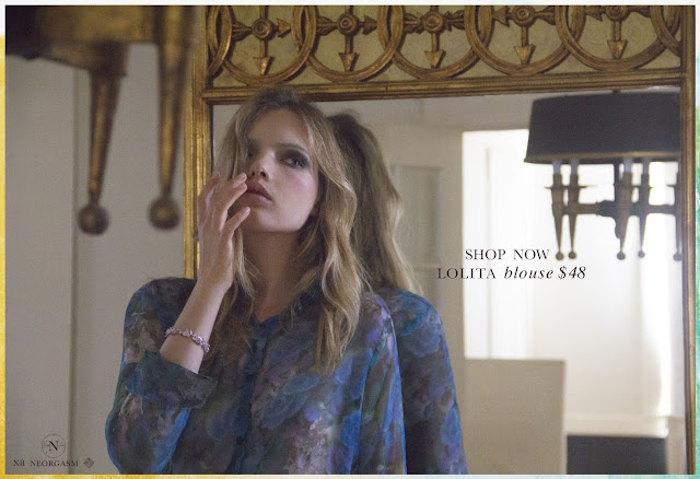 NEORGASM Lolita Blouse / Blue silk chiffon blouse sheer silk blouse silk flower blouse