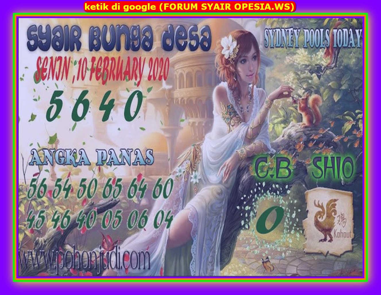 Kode syair Sydney Senin 10 Februari 2020 100