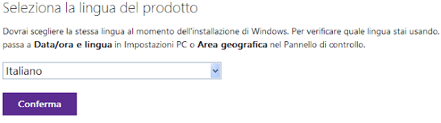 Download ISO Windows 10 seleziona lingua