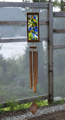 Handcrafted kaleidoscope wind chime with five copper chimes, Coast Chimes