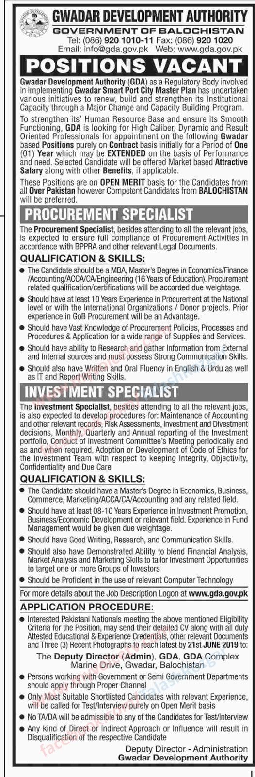 ➨ #Jobs - #Career_Opportunities - #Jobs - in a Gwadar Development Authority - Govt of Balochistan - Last date is 21 June 19