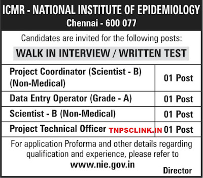 ICMR Chennai Walk-in-Interview for posts Notification 2018