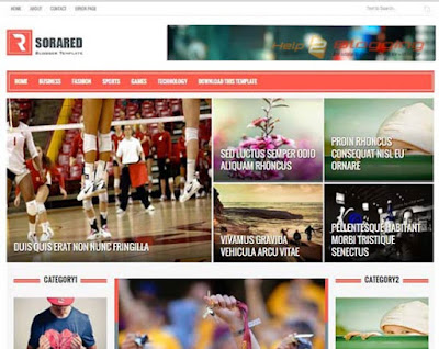 Sora Red Responsive, Clean design News, Magazine blog etc Gallery style Red, White color Left - Right Sidebar 2 Columns layout 3 Columns Footer Free premium template Blogger Template Download