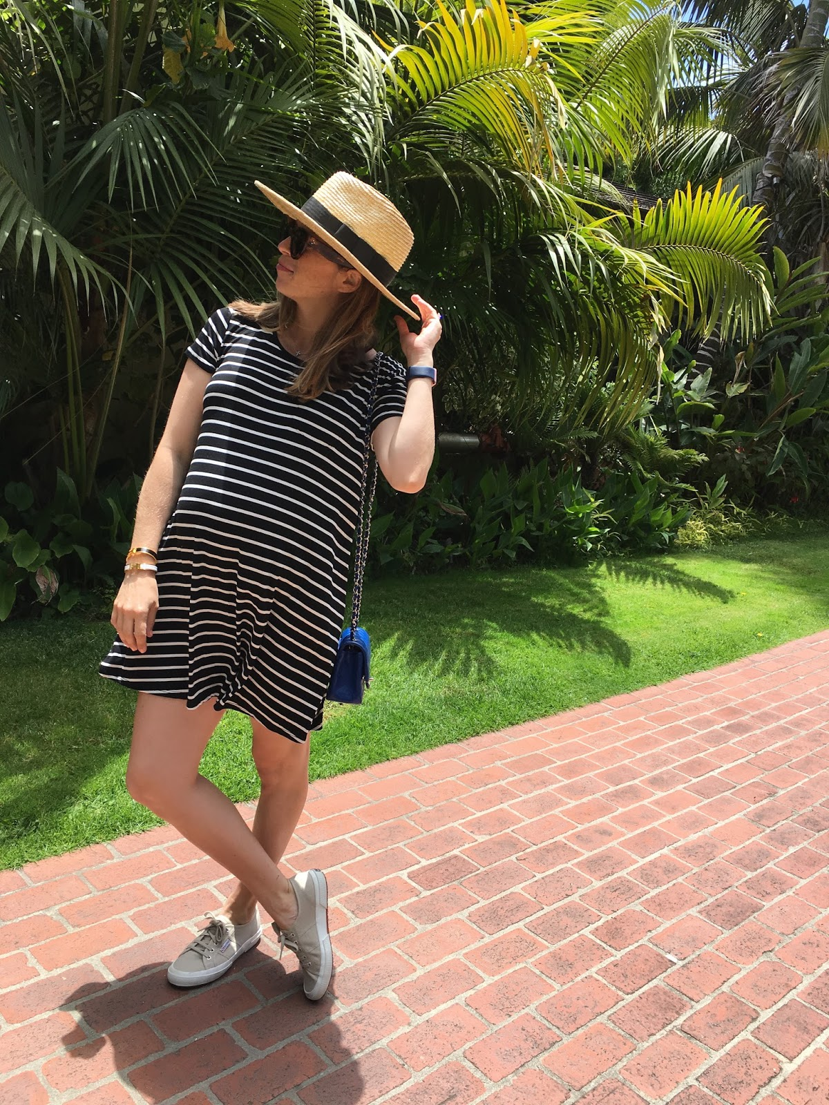 striped dress and straw hat