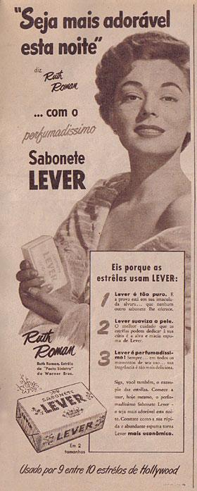 Campanha publicitária do Sabonete Lever protagonizado pela atriz Ruth Romana nos anos 50